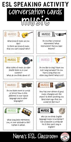 This resource includes 40 different cards with a variety of questions about music. These cards can be used to develop speaking skills of middle and high school ESL students. The difficulty ranges from lower to higher intermediate. Free English Lessons, English Speaking Skills, Esl Lessons, English Language Learners, Teaching English, Learn English, French Lessons, German Language, Spanish Lessons