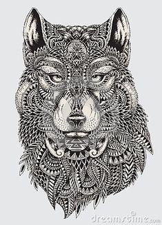 Illustration abstraite fortement détaillée de loup