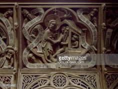 Stock Photo : Wooden choir Stall depicting Lazarus' resurrection, Roskilde Cathedral (Roskilde Domkirke) (UNESCO World Heritage List, 1995). Denmark, 12th-13th century.