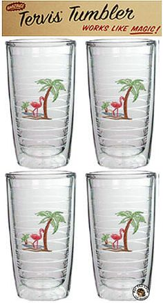 Tervis Tumblers flamingos and palm trees set of 4
