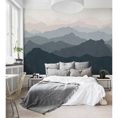 Mountain Mural 5 Piece Wallpaper Panel Set Wall Murals Bedroom, Bedroom Wall Decorations, Wall Paper Bedroom, Bedroom Wall Designs, Room Wall Painting, Art Walls, Bedroom Ceiling, Bedroom Art, Mural Painting