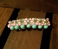 Excited to share the latest addition to my #etsy shop: Hair Jewelry! Glass Beaded Pink, Green, and Turquoise Hair Barrette. FREE SHIPPING! EBAR2 http://etsy.me/2DxvuWo #accessories #hair #pink #green #turquoise #hairjewelry #barrette #springbarrette #glassbeads