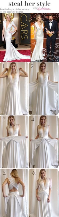 Steal Kate Hudson Oscar Dress style with a convertible dress! One dress that can be worn in multiple ways and styled for any occasion! Oscar Fashion, Diy Fashion, Fashion Dresses, Street Fashion, Convertible Clothing, Convertible Dress, Oscar Dresses, Evening Dresses, Infinity Dress Styles