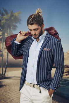 Cortesi navy jacket; Livingstone sky shirt; Fox off white chino; Wolfgang navy pocketchief; Montecarlo chalk belt