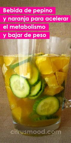 Fat burning drink with cucumber and orange to speed up metabolism and lose weight - jugos - Recetas Dieta Health Drinks Recipes, Nutrition Drinks, Healthy Drinks, Healthy Recipes, Healthy Food, Juice Drinks, Detox Drinks, Speed Up Metabolism, Fat Burning Drinks