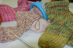 loom knitting - socks - currently trying this out!