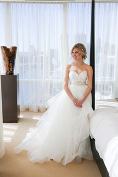 Elegant Baltimore Harbor Fall Wedding / Wedding dress by Hayley Paige