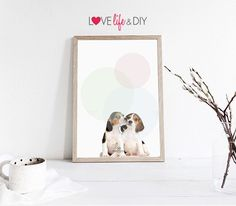 Bubble dogs  balloon illustration Printable Art Poster- Baby, child, cute, Animal, interior wall decor, Instant Digital Download DIY PRINT by HomePoster on Etsy