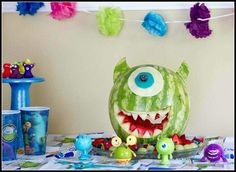 Fun food monster Inc watermelon. Great for a kids birthday.