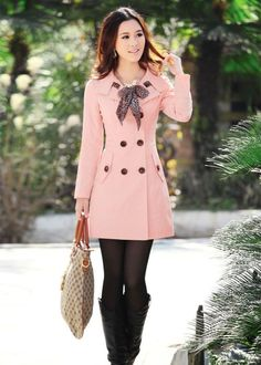 Double Breasted Long Trench Coat with Scarf Outwear