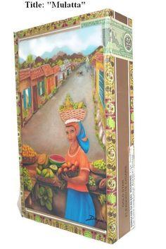 "On Sale !! Cigar Box with artwork ""Mulatta"" . Paintings by Daysi"