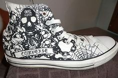 Skull drawing high top converse shoes rock heavy metal punk emo counter culture anarchy skate
