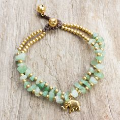 Jewelry Making Bracelets Green Quartz Beaded Elephant Charm Bracelet from Thailand - Green Elephant Gemstone Jewelry, Beaded Jewelry, Handmade Jewelry, Beaded Necklace, Jewelry Bracelets, Diy Jewelry, Handmade Beaded Bracelets, Jewelry Accessories, Bead Jewellery