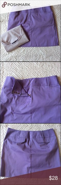 """Ann Taylor Skirt With Bonus Top NWOT This skirt is more of a soft lavender then what it shows in photo. Front zipper with three metal slide hooks. Wide waist band with belt loops. Also a wide hem with two side slits on sides. Two front slit pockets and two back pocket flaps. Photos for details. Length is 17 1/2 """" waist is 38 """" 98% Cotton 2% Spandex. Machine wash/dry low. Top is Liz Calaiborne, size XL 90% Cotton 10% Lycra Machine wash/dry flat  Bundle to save 20% Ann Taylor Skirts Pencil"""