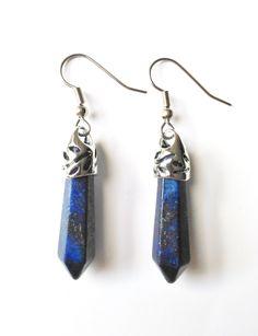 Lapis Lazuli Earrings + Free Shipping - lapis lazuli jewelry, crystal earrings, gemstone earrings, lapis earrings, gemstone jewelry by FeathersandStars on Etsy