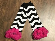 Black Chevron Leg Warmers With Pink Ruffle