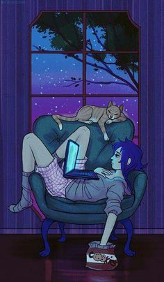 I do this for too late and too often (art by Emmy C) I love the purple hues and tones and also the style of drawing. Art And Illustration, Illustrations, Photo Chat, Cat Art, Art Inspo, Amazing Art, Fantasy Art, Concept Art, Anime Art