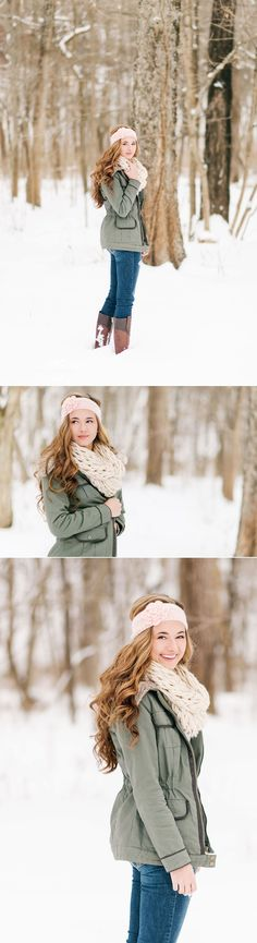 Lux Senior Photography - Snowy Senior Portraits in Bellbrook, Ohio #seniorphotography,