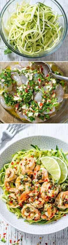This cilantro lime shrimp with zucchini noodles is simply drool worthy. Lime and cilantro combo makes for a full-flavored dish that tastes like restaurant quality, while only taking minutes to prep… Fish Recipes, Seafood Recipes, Chicken Recipes, Cooking Recipes, Healthy Recipes, Healthy Meals, Shrimp Recipes With Zucchini Noodles, Clean Lunches, Cilantro Lime Shrimp