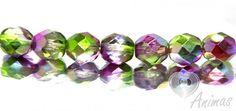 Brúsené korálky - Magic fialovo-zelené (B1193-0010) 8 mm (10 ks)