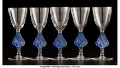 , FROM THE ESTATE OF A PROMINENT LALIQUE COLLECTOR. R. LALIQUE. Setof five cocktail glasses in the 'William' pattern, with ... (Total:5 Items)