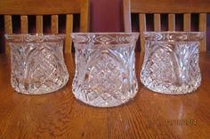 Three Vintage Fostoria Aristocrat Clear Glass Old Fashioned Glasses ~ RARE