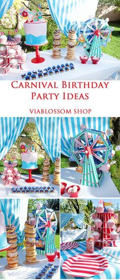 Carnival Birthday Party Via Blossom Circus Carnival Party, Kids Carnival, Circus Theme Party, Carnival Birthday Parties, Carnival Themes, First Birthday Parties, Birthday Party Themes, Birthday Ideas, Dumbo Birthday Party