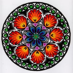 Lowicz Wycinanki - Floral Round - Our Polish paper cuts are made by folk artists in the Lowicz area of central Poland. Each paper cut-out is hand made using sheep sheers to form the designs. The designs from the Lowicz area are with rooster Hungarian Embroidery, Folk Embroidery, Mandala Design, Mandala Art, Paper Cutting, Polish Folk Art, Scandinavian Folk Art, Truck Art, Pop Art
