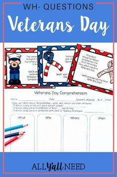 Veterans Day – A WH- Questions Game This Veteran's Day game targets WH- questions with answers provided in the text. Great for speech and language therapy and students working on comprehension skills. Veterans Day Activities, Art Therapy Activities, Speech Therapy Activities, Speech Language Therapy, Speech And Language, Language Arts, Veterans Day Speeches, Wh Questions, This Or That Questions