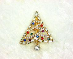vintage christmas pins beatrix | Vintage Baguette Rhinestone Christmas Tree Brooch by imagiLena