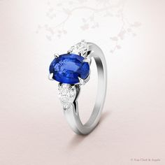 Van Cleef & Arpels Motifs Petales solitaire, platinum, pear-cut diamonds, 1 central oval sapphire of 2.14 carats. This unique creation refers to the graceful petals of flowers -  one of the greatest sources of inspiration of the Maison #Bridal