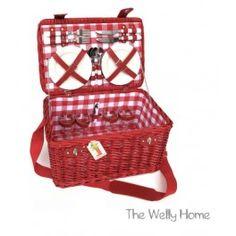 Cesta roja de picnic de 4 servicios The Welly Home