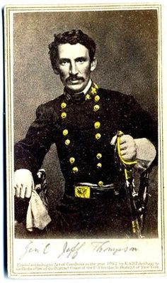 """CIVIL WAR CONFEDERATE CAVALRY GENERAL JEFF THOMPSON C.S.A. PHOTO BY ANTHONY 1862. HE WAS KNOWN AS THE """"SWAMP FOX OF THE CONFEDERACY"""""""