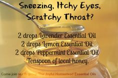 Allergy relief in a spoon To order oils or for more information, come join our facebook group The Joyful Homestead Essential Oils https://www.facebook.com/groups/1438037183126899/