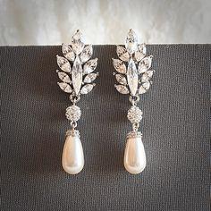 Vintage Style Swarovski Teardrop Pearl Chandelier Bridal Earrings, Crystal Leaf Wedding Earrings, Rhinestone Bridal Jewelry, SANDRINE
