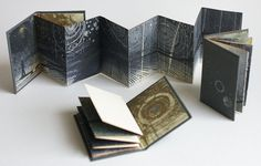 """louisaboydart: """" Stardust - set of three originals - 2013 Screenprint and monotype on Somerset paper, with copper etching end papers. Covered with book cloth. Concertina Book, Accordion Book, Up Book, Book Art, Book Sculpture, Book Folding, Handmade Books, Mark Making, Altered Books"""