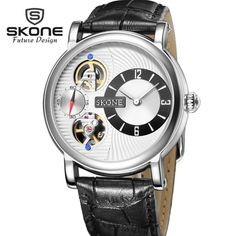 (41.43$)  Watch now - http://ai6eq.worlditems.win/all/product.php?id=32796879882 - SKONE Skeleton Dress Watches Men Top Brand Luxury Leather Mens Dual Movement Automatic Watch Mechanical Relogio Masculino XFCS