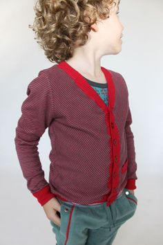 Super cute boy cardigan sweater! And the piping on the pants!