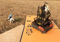 AITpop Halloween castle pop up card
