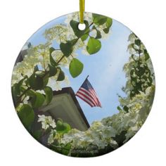 Flag Flowers and Sky-Martha's Vineyard Campground Ceramic Ornament - photo gifts cyo photos personalize