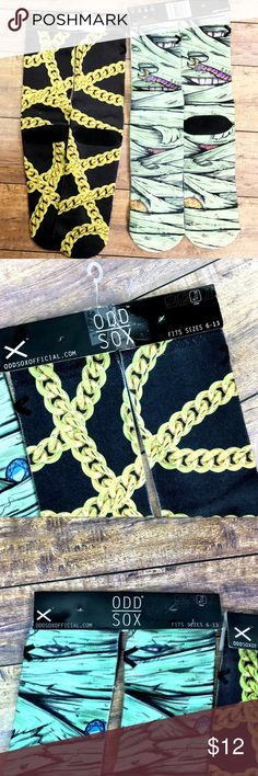 🆕 Odd Sox 2 Pair Socks New with tags! Odd Sox Crew Style Fun Socks Gold chains and The Mummy Fits shoe size 6-13 70% Polyester, 25% Cotton, 5% Elastic B20 Odd Sox Accessories