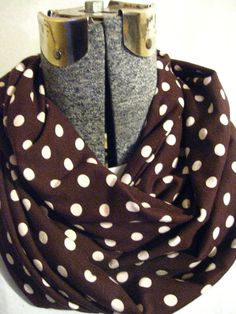 Brown Light PInk Polka Dots Jersey Knit Infinity Scarf- circle scarf, free shipping #bestofEtsy #etsymnt