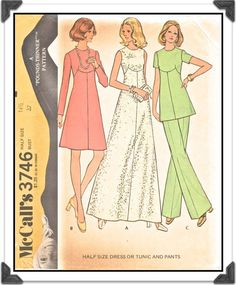 McCALLS Pattern 3746 - Misses Pretty Shaped-Seaming Dress in Two Lengths or Pantsuit - Sz 14-1/2 B37 - Uncut/FF - VIntage 1970s. $6.00, via Etsy.