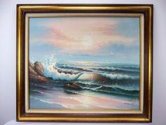 Z Murphy Original Oil on Canvas Painting Scenic Seascape Waves Crashing Beach