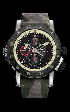 7d176528b68 GLYCINE AIRMAN Airfighter 3 Time Zones Chronographe Camouflage Ref.  3921.396.TB22   3921.398.LB99B - Swiss made watches - SwissTime