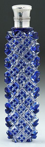 Antique circa 1890 Blue Overlay Cut Crystal Scent Perfume Bottle with Silver Collar & Lid ♥★♥STUNNING♥★♥