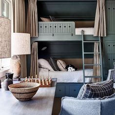Our post has some of the best space saving ideas for your small bedroom. Small bedroom decorating doesn't need to be difficult, use our 65 ideas to make your room seem larger and cozier at the same time! Bunk Bed Rooms, Bunk Beds With Stairs, Kids Bunk Beds, Build In Bunk Beds, Cabin Bunk Beds, Loft Spaces, Kid Spaces, Small Spaces, Kids Bedroom