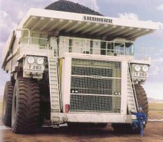 The monstrous Liebherr T 282B is a large earth-hauling dump truck designed in Germany in 2004. It became the biggest earth-hauling truck in the world, with the most advanced model driven by a 10.5 ton, 3650 hp, 90 liter diesel engine: