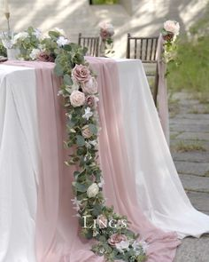 Dusty rose wedding garland for fall/winter, more wedding supplies 10% off Engagement Party Decorations, Outdoor Wedding Decorations, Wedding Table Centerpieces, Wedding Themes, Wedding Colors, Wedding Outdoor Ceremony, Handmade Wedding Decorations, Wedding Garlands, Flower Garland Wedding