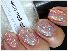 striped water marble nail art